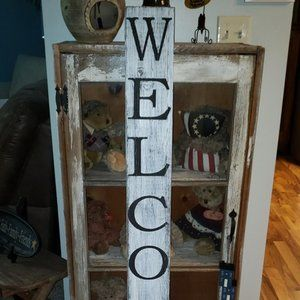 4' Vertical White Farmhouse Rustic WELCOME…